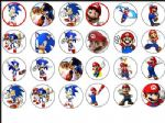24 x Super Mario & Sonic the Hedgehog Edible Wafer Rice Paper Cup Cake Tops 1.6''